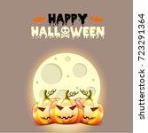 halloween postcard with pumpkins | Shutterstock . vector #723291364