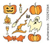 vector halloween set. color... | Shutterstock .eps vector #723292564
