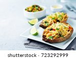 black bean avocado corn stuffed ... | Shutterstock . vector #723292999