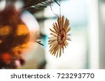 straw star and ball at... | Shutterstock . vector #723293770