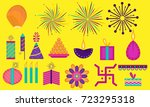 colorful diwali icon set | Shutterstock .eps vector #723295318
