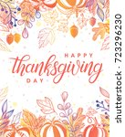 thanksgiving typography.hand... | Shutterstock .eps vector #723296230