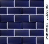 blue ceramic brick  seamless... | Shutterstock .eps vector #723298480