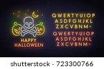 skull and pumpkin neon sign ...   Shutterstock .eps vector #723300766