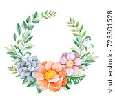 lovely floral pastel wreath... | Shutterstock . vector #723301528