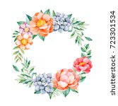 lovely floral pastel wreath... | Shutterstock . vector #723301534