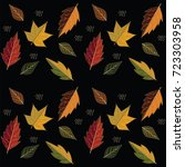 pattern of autumn leaves... | Shutterstock . vector #723303958