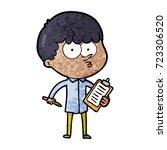 cartoon curious boy taking notes   Shutterstock .eps vector #723306520