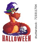 fierce dragon in a halloween...   Shutterstock .eps vector #723311704