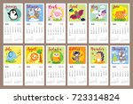 cute animals calendar 2018 year.... | Shutterstock .eps vector #723314824