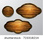 wooden signs  vector icon set | Shutterstock .eps vector #723318214