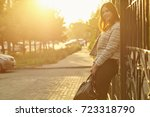 outdoor portrait of a beautiful ... | Shutterstock . vector #723318790