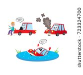 vector flat car characters with ... | Shutterstock .eps vector #723324700