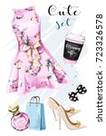 stylish hand drawn clothing and ... | Shutterstock .eps vector #723326578