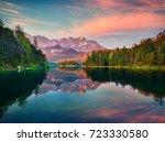 impressive summer sunrise on...   Shutterstock . vector #723330580