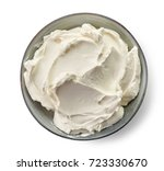 bowl of cream cheese isolated... | Shutterstock . vector #723330670