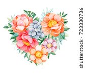 handpainted watercolor heart... | Shutterstock . vector #723330736
