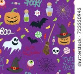 halloween vector seamless... | Shutterstock .eps vector #723330943