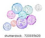 group of chemical minerals and... | Shutterstock . vector #723335620
