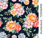 handpainted watercolor seamless ... | Shutterstock . vector #723336940