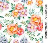 handpainted watercolor seamless ... | Shutterstock . vector #723336958