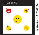 flat icon emoji set of pouting  ...   Shutterstock .eps vector #723342274