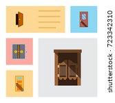 flat icon approach set of door  ... | Shutterstock .eps vector #723342310
