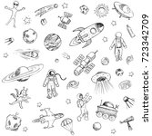 collection of sketchy space... | Shutterstock .eps vector #723342709
