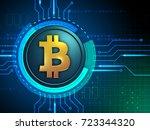 bitcoin symbol over a circuit... | Shutterstock . vector #723344320