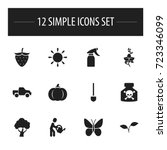 set of 12 editable gardening... | Shutterstock .eps vector #723346099