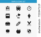 set of 12 editable education... | Shutterstock .eps vector #723347119