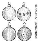 christmas balls illustration ... | Shutterstock .eps vector #723349048