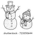 snowman illustration  drawing ...   Shutterstock .eps vector #723350644