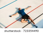 top view portrait of a tired... | Shutterstock . vector #723354490