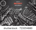 grilled meat and vegetables top ... | Shutterstock .eps vector #723354880