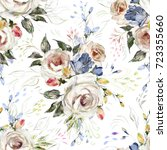 seamless pattern with white... | Shutterstock . vector #723355660