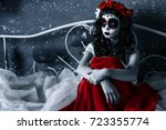 santa muerte girl with red... | Shutterstock . vector #723355774