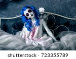 little blue hair girl in bloody ... | Shutterstock . vector #723355789