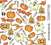 vector halloween seamless... | Shutterstock .eps vector #723357730