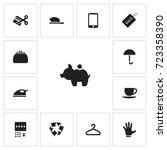 set of 13 editable trade icons. ...