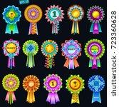 set of colorful rosettes on... | Shutterstock .eps vector #723360628