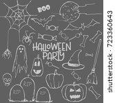 set for halloween party. happy... | Shutterstock .eps vector #723360643