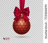 realistic christmas ball with... | Shutterstock .eps vector #723360694