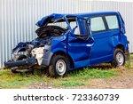 the crash car  broken minibus... | Shutterstock . vector #723360739
