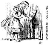 Stock vector alice in wonderland alice is looking behind a curtain to reveal a hidden door alice s adventures 72336781