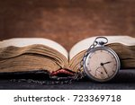 decaying clock on the... | Shutterstock . vector #723369718