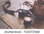 cup of coffee latte and classic ... | Shutterstock . vector #723372568