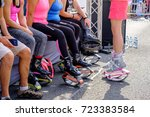 young woman in kangoo jumps... | Shutterstock . vector #723383584