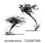 tornado set. vector sketch hand ... | Shutterstock .eps vector #723387340