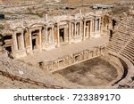 the ruins of antique theater in ... | Shutterstock . vector #723389170